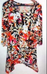 Premise Orange Pink Floral Tunic 1X Plus